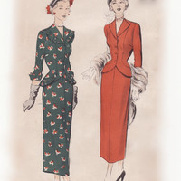 Vintage 50s Sewing Pattern - Ladies Suit Dress: Nip Waist Jacket with Pleated Flange Trim & Slim Skirt - Advance 5130, Bust 32, Unused