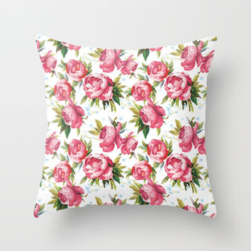 Peony Flower Pattern Throw Pillow by Smyrna