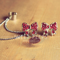 Red Rhinestone Bow Stud Ear Cuff Set