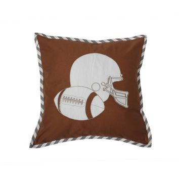 Bacati - Football Brown/Grey Muslin Dec Pillow 12 x 16 inches with removable 100% Cotton cover and polyfilled pillow insert Standard
