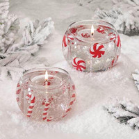 4 Christmas Gel Candles - Clear Gel Candle With Candy Highlights