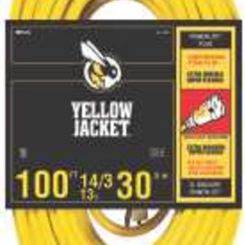 Coleman Cable Yellow Jacket 14/3 Sjtw 100 Ft. Extension Cord With Lighted Receptacle, Yellow