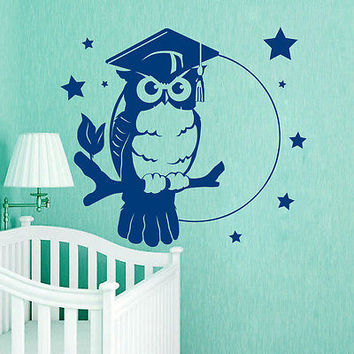 Wall Decals Owl Bird On Tree Decal Nursery Room Vinyl Star Sticker Decor MR405