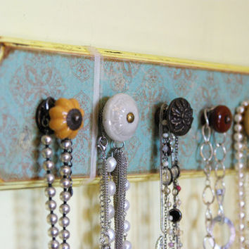 Necklace Display, Jewelry holder, Necklace hanger, Teal and Yellow, Distressed, Decorative Knobs, 5 knobs