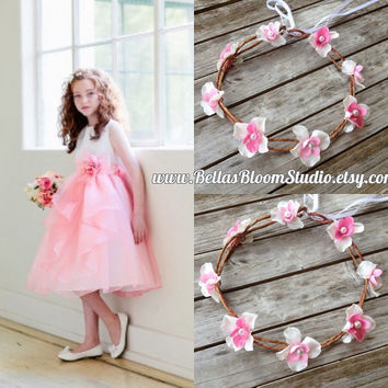 Pink Flower Crown, Bridal Flower Crowns, Wedding Flower Crown, Flower crown pink, Flower girl crown,blush pink crown, pink crown etsy onsale