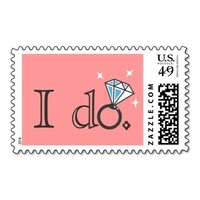"Diamond Ring ""I do"" Pink Wedding Stamps"