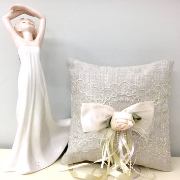 Ring Bearer Pillow,Ivory Linen Wedding Pillow, Boho Shabby Chic Vintage Inspired Linen Wedding Pillow,French Lace Pillow,Wedding Decorations