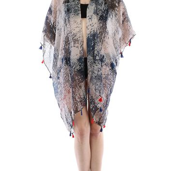Navy Blue Distressed Print Sheer Cover Up Poncho