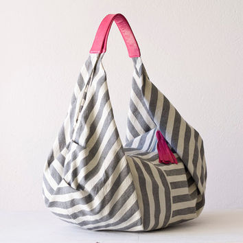 Stripe slouch bag , shoulder bag  in  cotton canvas and Pink leather - Kallia bag
