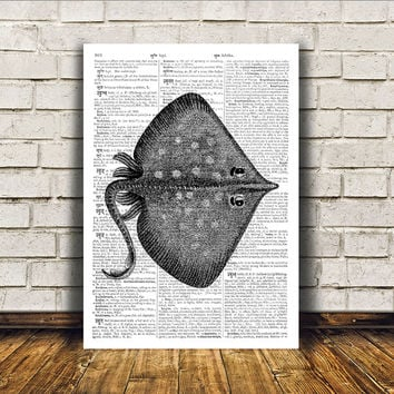Manta ray poster Nautical art Beach house decor Marine print RTA152