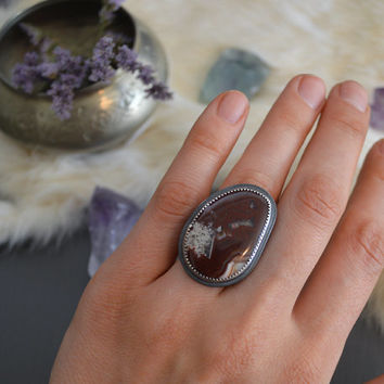 Berries in Winter Ring / Red Crazy Lace Agate & Sterling Silver Ring / Boho Jewelry / Blood Red Stone / Bohemian Style / Fits US Size 6 3/4