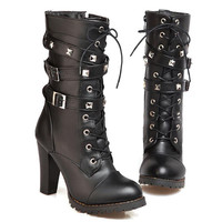 Women Lace up Leather boots  Black
