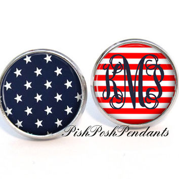 Stars and Stripes Monogram Earrings, Personalized Monogram Stud Earrings, Monogram Jewelry, Bridesmaid Jewelry (382)