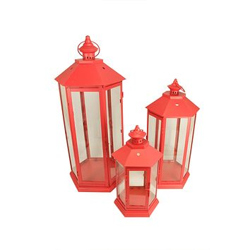 Set of 3 Red Traditional Style Pillar Candle Holder Lanterns 27""
