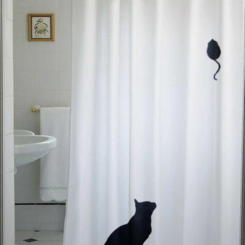 Mouse Cat Shower Curtain kids