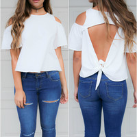Forever Perfect Ivory Open Back Knot Cold shoulder top