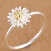 vintage womens 925 silver chrysanthemum ring gift 24