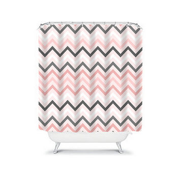 Shower Curtain Chevron Soft Pink Gray Geometric Pattern Bathroom Bath Polyester Made in the USA