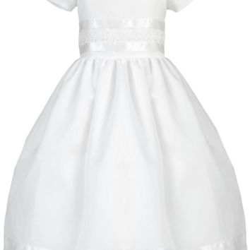 Satin Ribbon & Lace Trim on Organza Overlay First Holy Communion Dress (Girls Size 5 to 12)