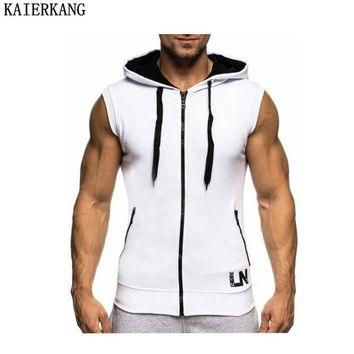 KAIERKANG Bodybuilding Hoodies Bodybuilding Clothes Cotton Hoodie Sweatshirts Men's Sleeveless Tank Tops Casual Gyms Vest