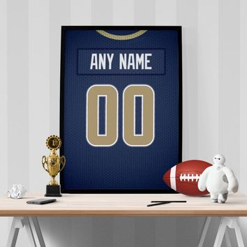Los Angeles Rams Jersey Poster - Print Personalized Select ANY Name & ANY Number