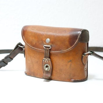 SWISS ARMY 1930 Binoculars Bag or Case, Military Saddle Leather, Cognac Tan, Man Bag, Men's Crossover Messenger Fishing Bag from Switzerland