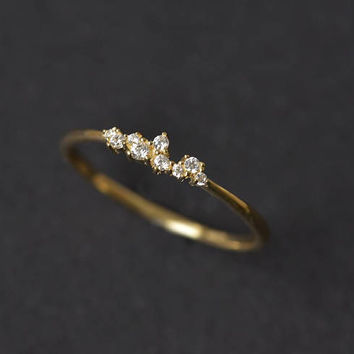 Cluster Ring in 14k Gold - CZ Cluster Ring - Unique Stackable Ring - CZ Diamond Wedding Band -Gift For Her - gold engagement ring