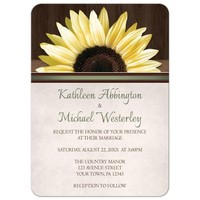 Wedding Invitations - Country Sunflower Over Wood Rustic