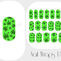 Marijuana  Nail Wraps 18 Cannabis Vinyl Full Nail Art Decals