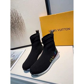 New arrivals office LV Louis Vuitton Women Popular Fashion sock Print Heels Shoes flats sneaker Boots best quality