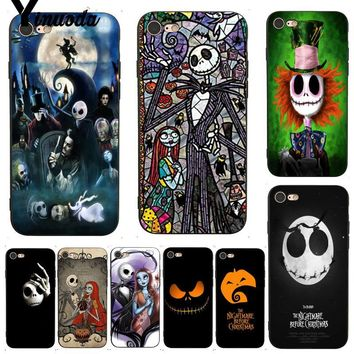 Yinuoda For iphone 7 6 X Case The Nightmare Before Christmas Cartoon Phone Case for iPhone 7 X 6 6S 8 Plus X 5 5S SE XS XR