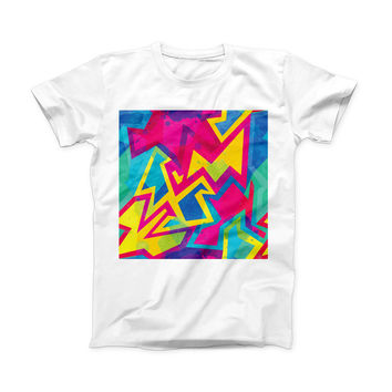 The Bright Retro Color-Shapes ink-Fuzed Front Spot Graphic Unisex Soft-Fitted Tee Shirt