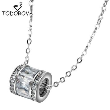 Todorova High Quality AAA 100% 925 Silver Necklace Cubic Zirconia Women Cylinder Zircon Pendant 925 Sterling Silver Jewelry
