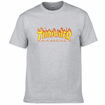 THRASHER classic flame logo summer couple models cotton personality T-shirt F0227-1 Grey