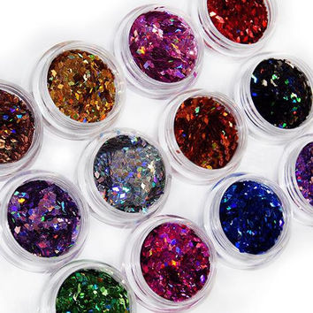 2015 12 Colors 3D Rhombus Shape Glitter Acrylic Nail Art Salon Sequins Powder Stickers Tips DIY Decor Decorations 51N6
