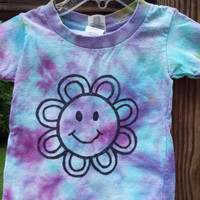 Smiley Face Tshirt for Kids, Custom Tie Dye Shirt with Flower, Hippie Kids Clothes, Flower Child, Smiley Face Flower TShirt, Happy Face