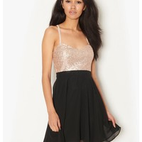 Black Spaghetti Strap Sequined Pleated Dress - Sheinside.com