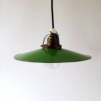 Green Enamel Pendant Light 30s by ArqueologiaDomestica on Etsy