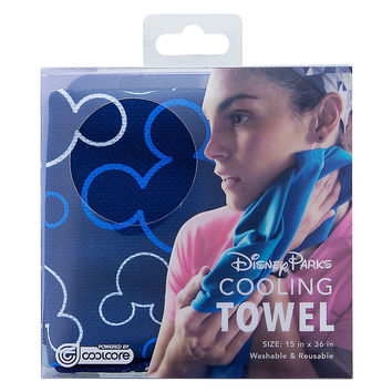 Disney Parks Mickey Mouse Blue Icon Cooling Towel By Coolcore New with Box