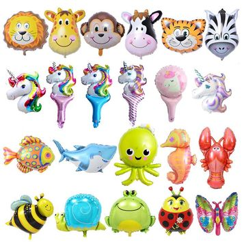 50Pieces Mini Animal Foil Balloons Happy Birthday Party Decorations Kids Inflatable Toys Ocean Fish Balls Unicorn Party Supplies