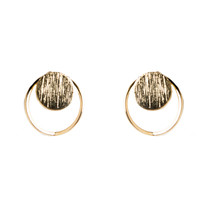 Circle Dot Cut Out Stud Earrings - Gold