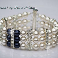 MADONNA - Something Blue Rhinestone and Swarovski Pearl Bridal Cuff Bracelet