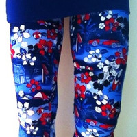 Soul Trend Womens Leggings/Tights/Blue Red White Beach Bum Printed on Nylon Spandex Fabric Size 8, 10, 12, 14, 16 New