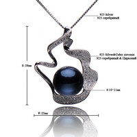 "ELITE Black freshwater Pearl pendant 18"" 925 Sterling Silver chain 10-11mm pearl necklace"