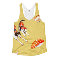 Sushi Girl All Over Print Women's Racerback Tank Top