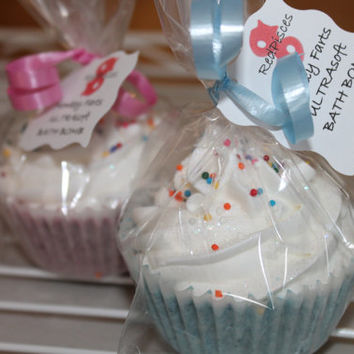 UltraSoft Bath Bomb fizzy nourish moisturizing BABY shower Party FAVORS mini cupcakes pink blue