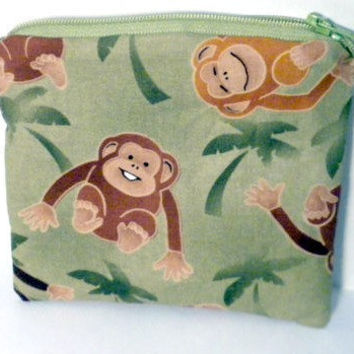 Monkey Change Purse Green jungle monkeys by redmorningstudios