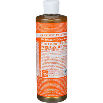 Dr. Bronner's Pure Castile Soap - Fair Trade and Organic - Liquid - 18 in 1 Hemp - Tea Tree - 16 oz