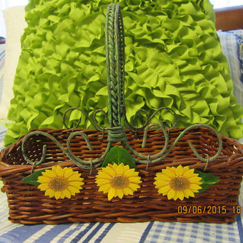 Unique Natural Brown Yellow Daisy Rectangle Wicker Basket with Green Wire Handles for Your Home Decor-Flower Girl Basket- Wedding-Gift Idea