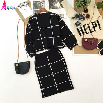 Gagaopt 2016 Brand Women Winter Suit Plaid Midi Skirt Suit